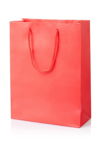 Red shopping bag on white, clipping path included