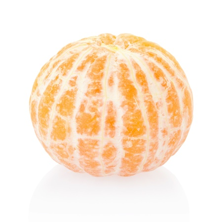 Tangerine or mandarin on white, clipping path included Фото со стока