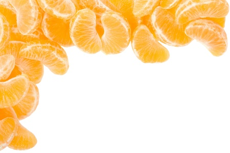 Tangerine segments frame, border on white with clipping path photo