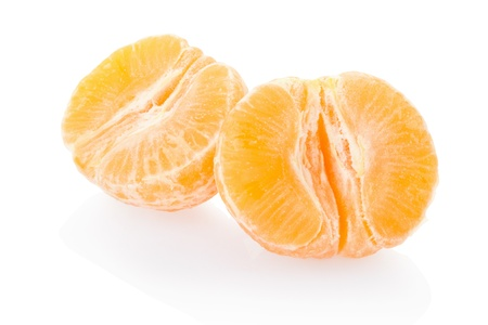 Tangerine half on white, clipping path included photo