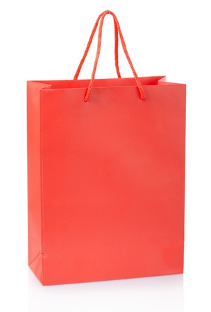 Red shopping bag isolated on white with clipping path