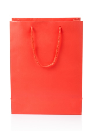 Red shopping bag on white, clipping path included photo