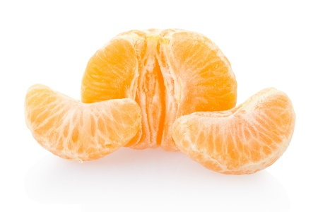 Tangerine on white, clipping path included photo
