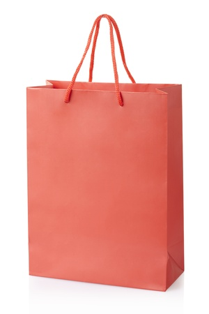 christmas shopping bag: Red shopping bag isolated, clipping path included