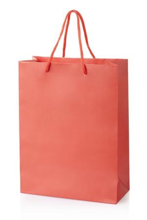 Rode boodschappentas geïsoleerd, het knippen inbegrepen weg Stockfoto