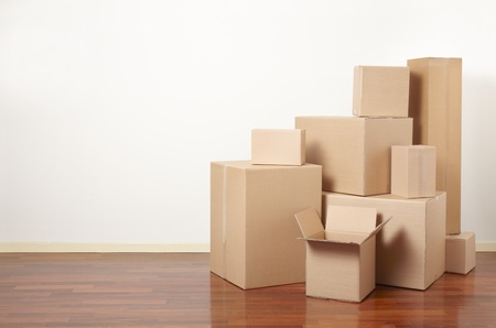 moving box: Cardboard boxes in apartment, moving day