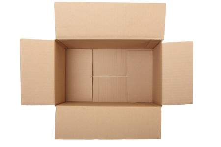 corrugated box: Empty cardboard box on white, clipping path included Stock Photo