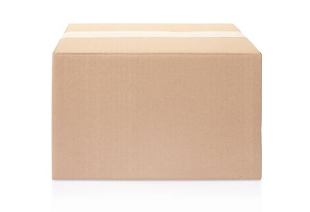 Cardboard box on white, clipping path included