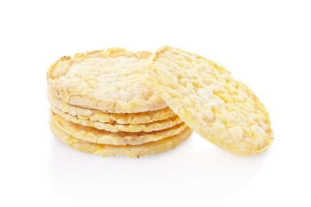 Corn cakes isolated on white, clipping path included