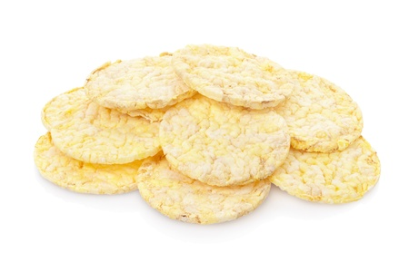 rice cake: Corn cakes heap on white, clipping path included