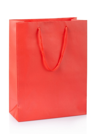 Red shopping bag isolated on white, clipping path included photo