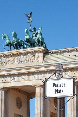 Pariser Platz sign, Brandenburg gate, Berlin photo