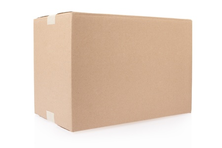 Cardboard box closed with tape on white