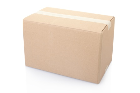 Cardboard box on white Stock Photo - 18952887