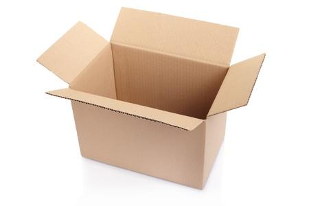 Empty cardboard box on white Stock Photo - 18952896