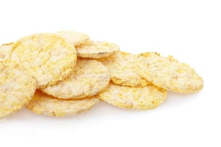 rice cake: Corn crackers on white