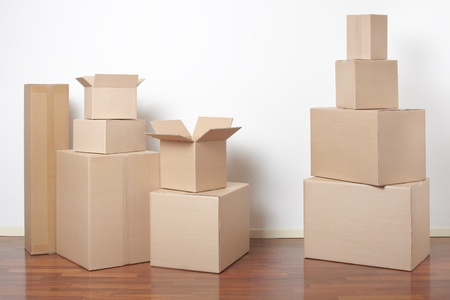 Cardboard boxes in interior, moving day Stock Photo - 19259191