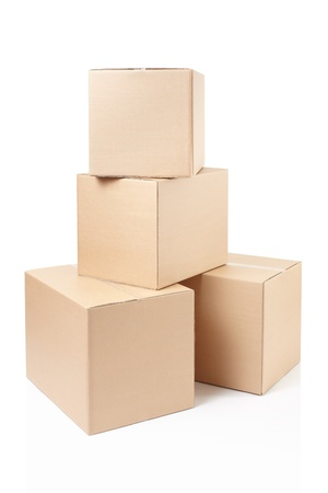 Cardboard boxes stack on white, clipping path Фото со стока