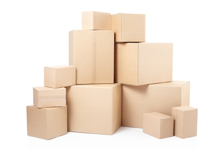 distribution box: Cardboard boxes on white, clipping path