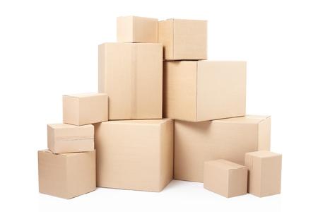 Kartonnen dozen op wit, clipping path Stockfoto