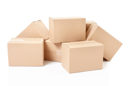 Cardboard boxes heap on white, clipping path Stock Photo - 19479599