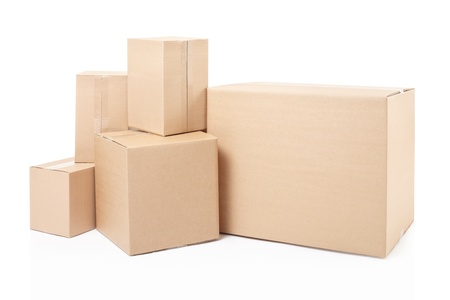 cardboard box: Cardboard boxes isolated on white, clipping path