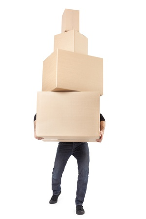 Man lifting cardboard boxes on white, clipping path photo