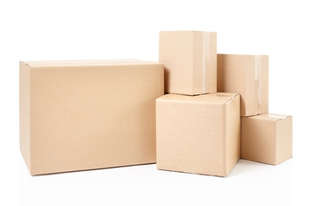 Cardboard boxes on white, clipping path Stock Photo - 19479682