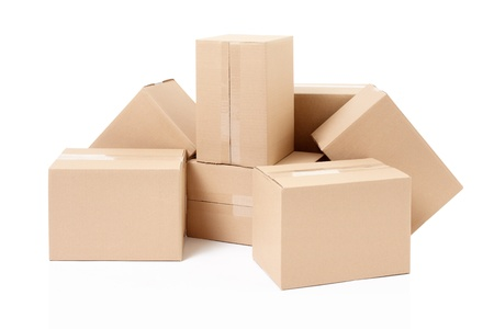 moving crate: Cardboard boxes group on white, clipping path included