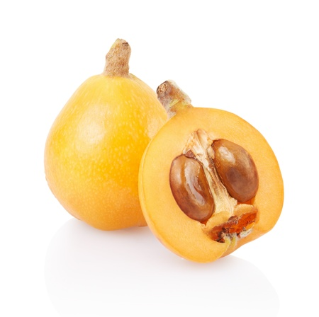 Loquat and section on white, clipping path included