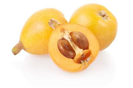 produce sections: Loquat medlar on white, clipping path included