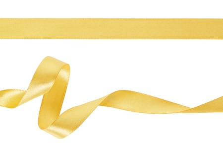 Gold ribbon set on white, clipping path included 스톡 콘텐츠