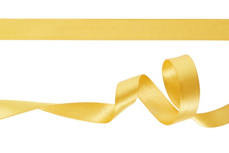 Golden ribbon set on white, clipping path included