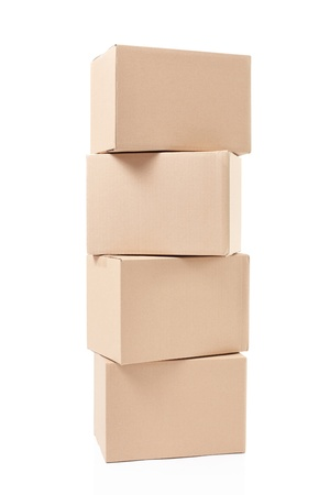 Small cardboard boxes stack on white, clipping path Stock Photo - 20200308