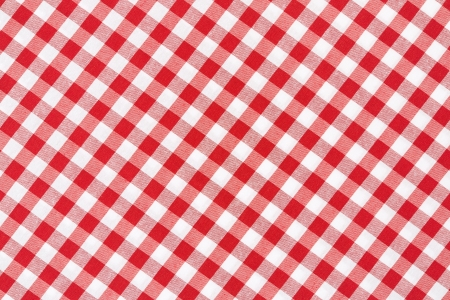 Red and white gingham tablecloth texture background