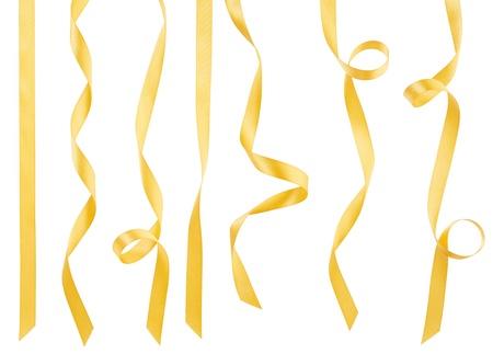 흰색, 클리핑 패스에 고립 된 황금 리본 컬렉션 스톡 콘텐츠