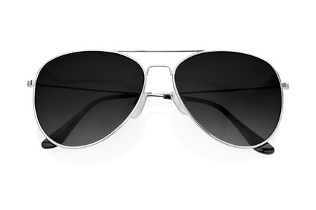 Black sunglasses isolated on white photo