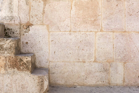 Ancient wall stone texture with staircase in Amman, Jordan