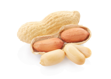 Dried peanuts isolated on white background, clipping path