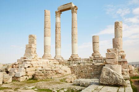 citadel: Temple of Hercules on the Amman citadel, Jordan Stock Photo