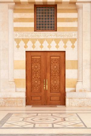 king hussein: King Hussein Bin Talal mosque door in Amman,  Jordan