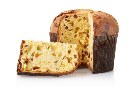 Panettone, italian Christmas cake on white, clipping path Stock Photo