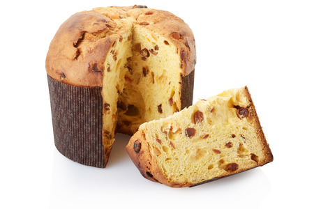 Panettone, Christmas cake on white, clipping path 스톡 콘텐츠