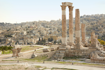 citadel: Temple of Hercules archeological site in Amman with city view, Jordan Stock Photo