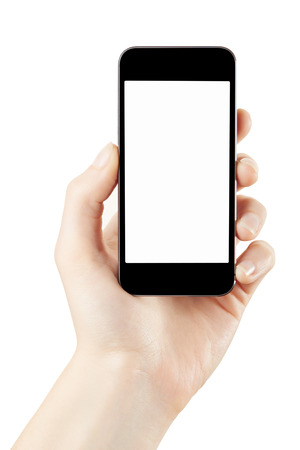 hand holding phone: Woman hand holding smartphone isolated on white Stock Photo