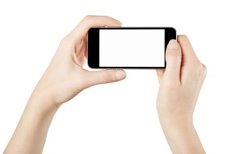 Smartphone in de handen van de vrouw het nemen van foto of video
