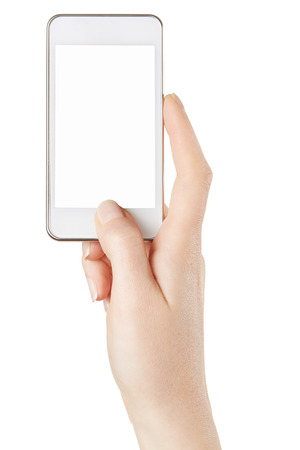 picture person: Smartphone in female hand taking photo on white Stock Photo
