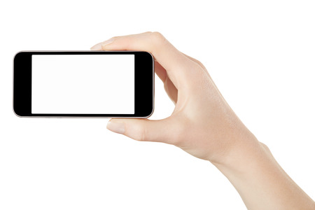 taking video: Smartphone in female hand taking photo isolated Stock Photo