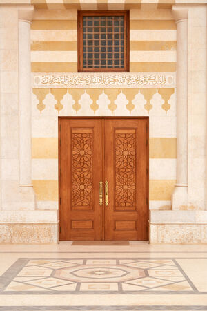 king hussein: Mosque door in Amman, Jordan