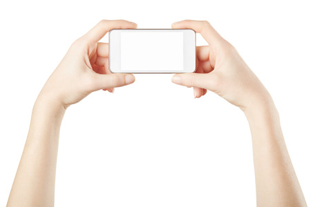taking photo: Smartphone in female hands taking photo on white, clipping path included